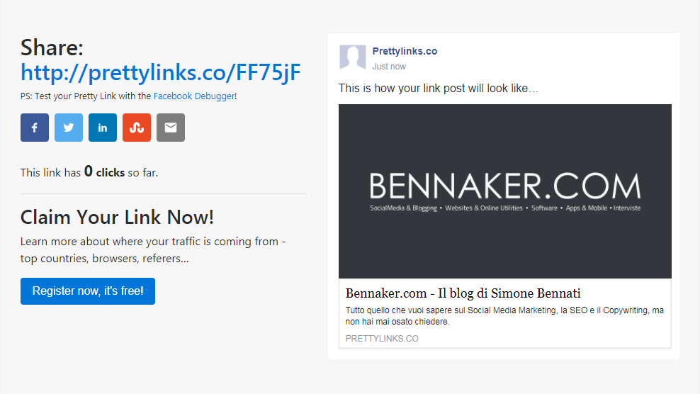 Pretty Links - Share link