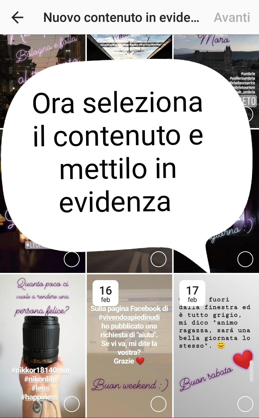 seleziona contenuto evidenza instagram