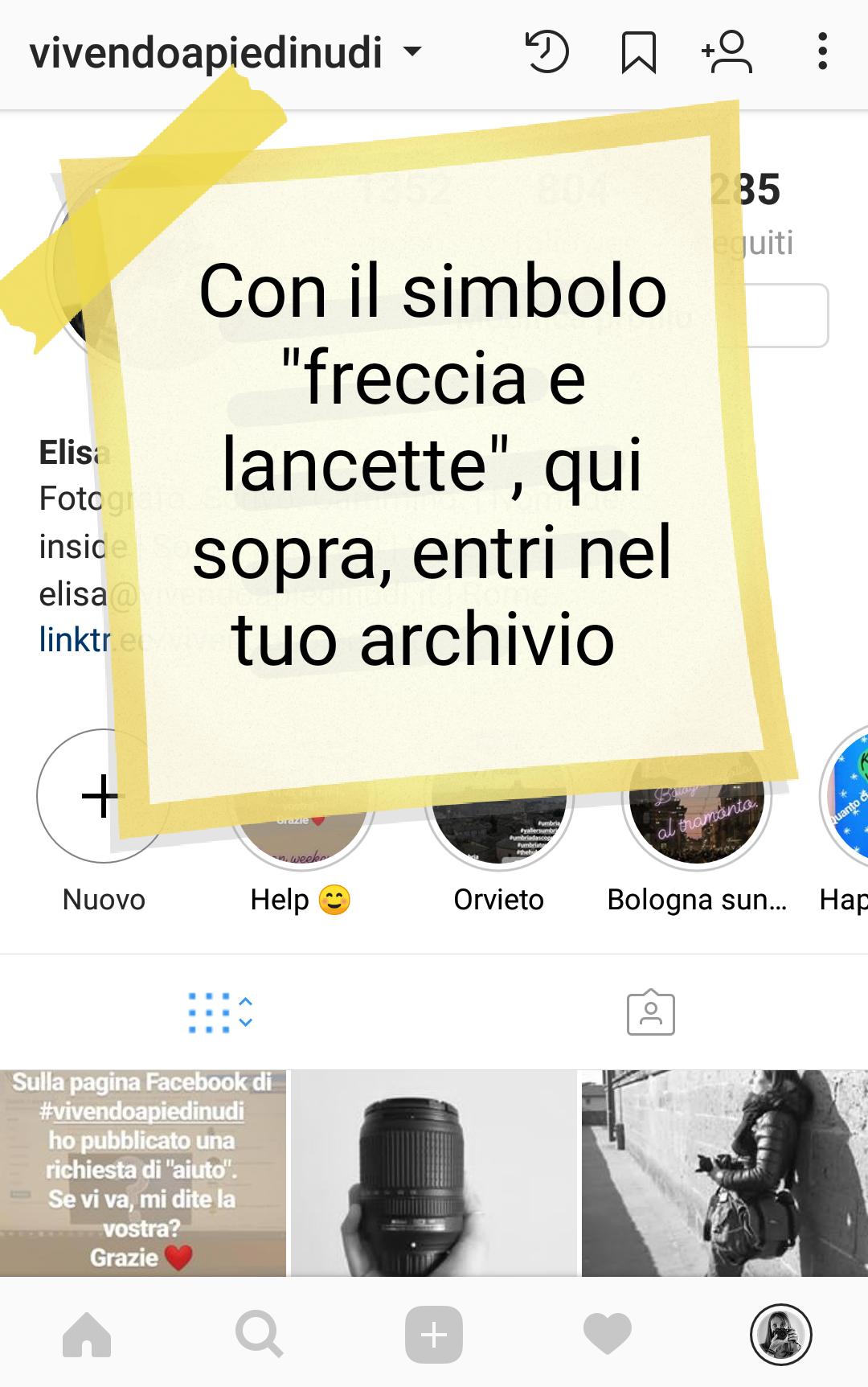 storia in evidenza da profilo instagram secondo modo