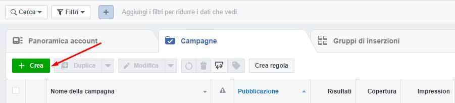 facebook business crea campagna
