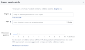 facebook business crea pubblico simile