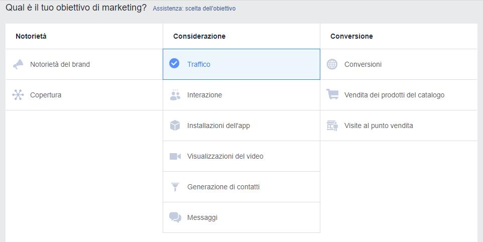 facebook business obiettivo di marketing