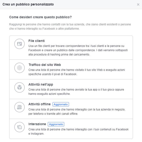 facebook business pubblico personalizzato