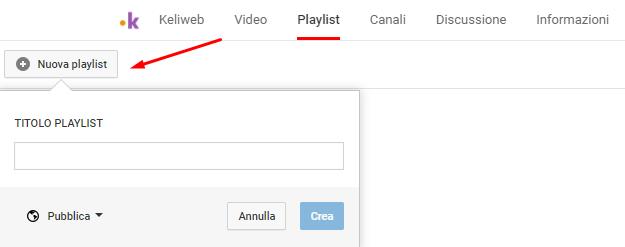 youtube crea nuova playlist