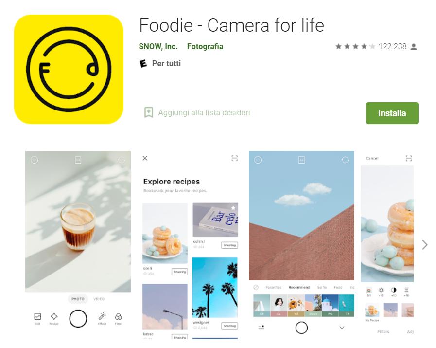 Foodie app di editing foto